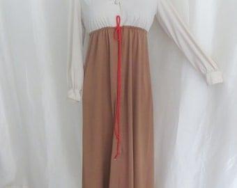 Vintage 70s womens robe, maxi dress, empire waist, mod hippie, brown beige lounging robe, hostess gown