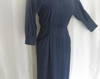 Vintage 80s womens dress, navy white polka dot dress, long sleeve high collar or v neck collar
