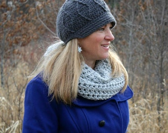 Women's Newsboy Hat, Crochet Hat, Women's Winter Hat, Made to Order