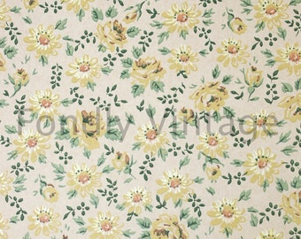 Build Your Own Custom Sample Vintage Wallpaper Packet - Single Scrap Sheet, 8 1/2 in. x 10 1/2 in. Page - Retro Yellow Roses Floral