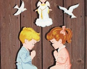 Praying Little Boy and Girl with Angel and Doves 5 Piece Vintage Dolly Toy Company Wall Hanging