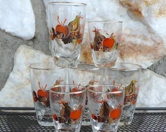 Vintage Mid Century Modern Libbey Orange Apple Juice Glasses