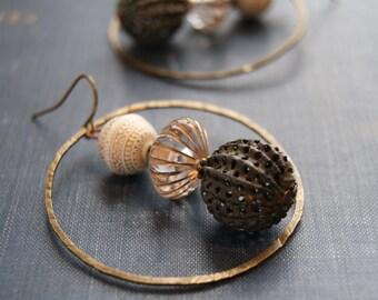 Tribal Hammered Earrings Aztec Mayan Earrings Boho Statement Earrings Hammered Metal Earrings Tribal Hoop Jewelry Geometric Earring Geometry