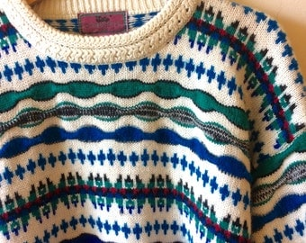 80s MultiPatterned White Sweater Coogi Style Men's Large Women's Oversized