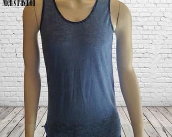 Mens Tank Top; Custom Tank Top; Custom T Shirt ;Semi Through sleevless Top; Blue Tank Top;  Azure sleevless top; Blue Burned Top