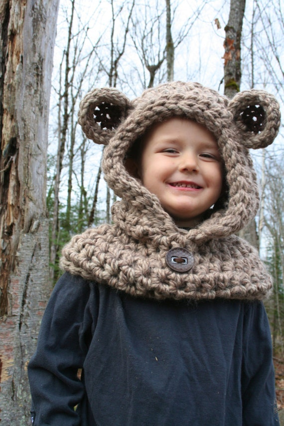Free Teddy Bear Cowl Crochet Pattern : Bear Hooded Cowl PATTERN Easy CROCHET PATTERN Teddy Bear