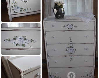 Hand painted cottage chic dresser with hand painted cottage roses