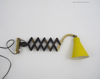 Yellow Scissors Wall Light, great vintage wall lamp from the sixties
