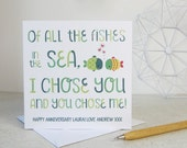 Cute Anniversary Card 'All The Fishes In The Sea' - fishing anniversary card - valentine card - card for wife - card for husband