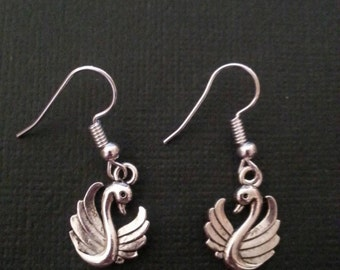 Silver Swan Earrings