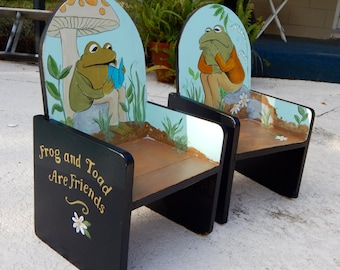 Custom Paint to order Frog and Toad Hand Painted pair of Kid's Chairs in the style of Arnold Lobel