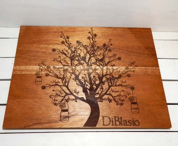 Family Tree Wedding Gift: Cutting Board Family TreePersonalized Cutting