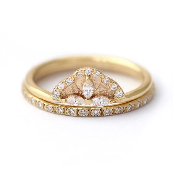 Diamond Wedding Set Cluster Bridal