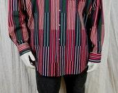 Salty Dog Gant milticolor stripes shirt Long sleeve mens shirts Cotton geometric print shirt 90s grunge Men's vintage clothing XL Hipster