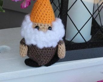 Little Crochet Garden Gnome Doll with Orange Hat