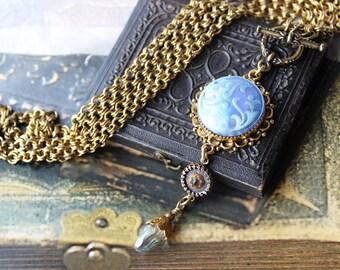 Antique Glass Necklace Sky Blue Cerulean Glass Pendant, Triple Drop Necklace Long to Short,  Antique Button Jewelry by veryDonna