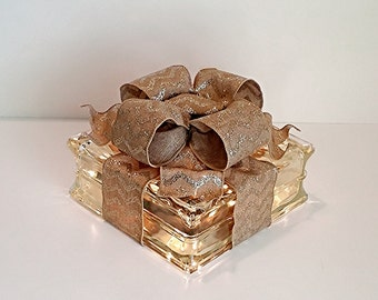 Light Up Glass Block / Present For Decoration With a Gold Chevron Bow