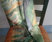Winter Moonrise Hand Painted Long Silk Scarf in Dusky Blue, Nordic Green, Pink and Moonlight -  a landscape scarf