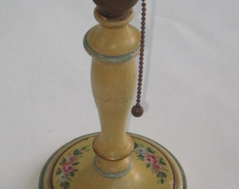 Antique Wood Toleware Table Lamp with Hand Painted Flowers
