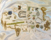 Box Lot of Miscellaneous Jewelry; Bag Lot of Miscellaneous Jewelry; Jewelry Parts; Harley Davidson Belt Buckle; Christmas Pins