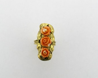 Three Flower Coral Ring with Leaf Design; Coral Ring; Floral Design Coral Ring; Carved Coral Ring; Art Nouveau Coral Ring; Art Nouveau Ring