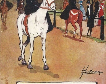 In the Smart Set - Antique 1910s Tuck Oilette Remarque Artist-signed Sidesaddle Equestrian Postcard