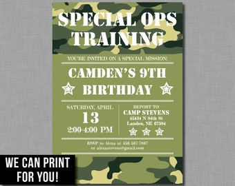 Army Birthday Invitation party military camouflage