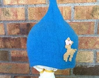 12-24+ Month Pixie Hat Blue Teal Repurposed Cashmere with Deer (BT-d.1)