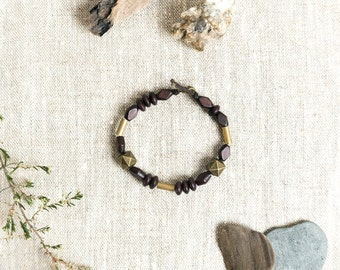 SILAB Mix Materials Bracelet - wood and brass