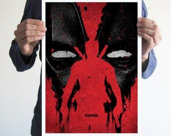 Deadpool,poster,digital print,art,movie poster,comics,red,blood,geek,nerd,movie,black