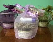 Lavender Gift Set, Lavender Lovers Collection - Lavender Spa Kit, Spa Gift Set with Soap, Shea Butter, Lip Balm in Gift Bag, Lavendar Soap