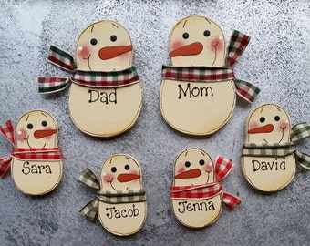 Magnets - Personalized family magnets - Snowman magnets - refrigerator magnets - Family of 6 - office magnets
