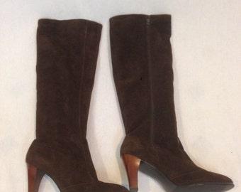 1980s Suede Golo Boots - Size 6 1/2 N Dark Brown