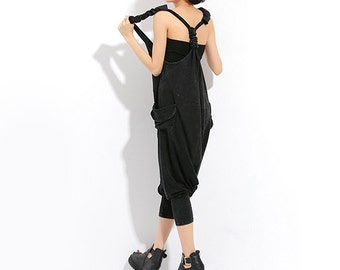 Women Jumpsuits Sexy Jumpsuit Punk Pants Long Cute Overalls Black One Pieces #J12