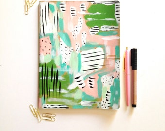 LARGE Painted LINED Journal Notebook Abstract Art OOAK Moleskine Softcover 120 Pages 10x7 modern diary prayer journal bible journaling