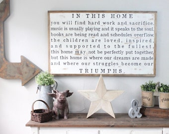 In This Home Sign, Large Wood Sign, Family Sign, Family Rules, Our Story, Rustic Home Decor, Wall Art, Large Signs