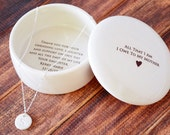 Unique Mother of the Bride Gift - Keepsake Box with Personalized Necklace - All That I Am I Owe To My Mother - Gift Boxed