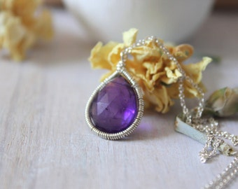 Amethyst Pendant Necklace -Gemstone Choker - Gemstone Necklace -Gemstone Jewelry -February Birthstone- Gift For Mom