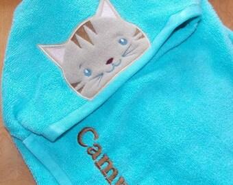Cat Hooded Towel Kids Hooded Towel Personalized Towel Personalized Bath Towel Cat Decor Kitten Personalized Gift Personalized Birthday Gift