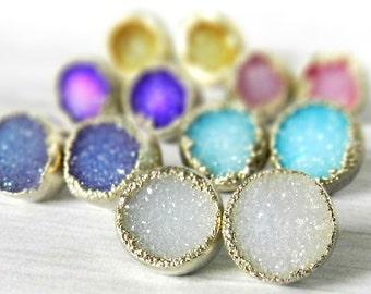 SUMMER SALE druzy stud earrings, druzy earrings,  silver earrings, silver studs