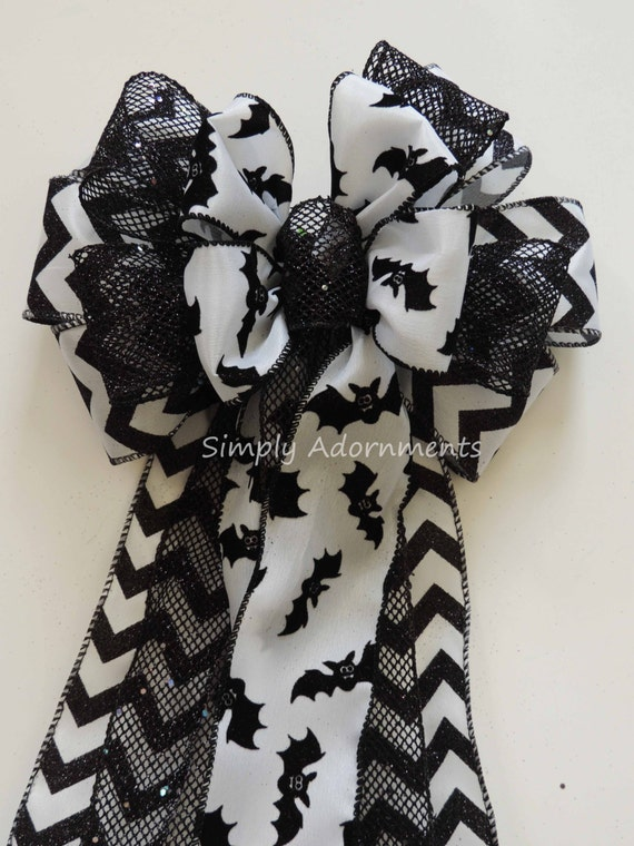 Black White Chevron Halloween Bow Black Bat Wreath Bow Halloween Bat Bow Halloween Door Hanger Decor Black White Halloween Party Decorations