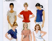 Simplicity 8523 Misses Top Pattern Bust 36 38 40 UNCUT Short Sleeve Sleeveless Casual Shirt Womens Sewing Patterns Size 14 16 18
