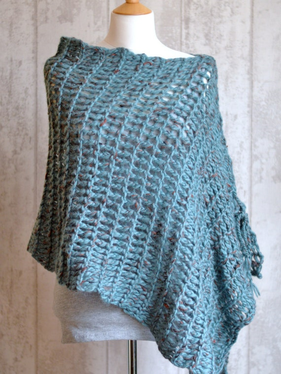 Beginner Knitting Poncho : Knitting pattern very easy beginner scarf wrap poncho