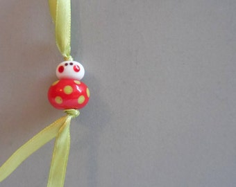Good luck charm - strawberry red and green polkadots - free gift pouch