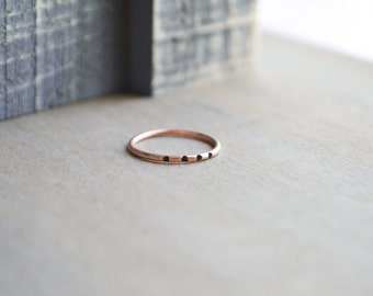 The Cilla Ring >> Oxidized Copper Ring, Modern Ring, Oxidized Ring, Patterned Ring, Tribal Ring, Minimalist Copper, Boho Ring, Copper Ring