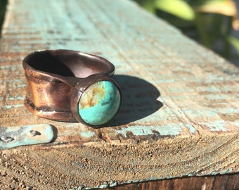 Turquosie and Copper Ring- Size 9