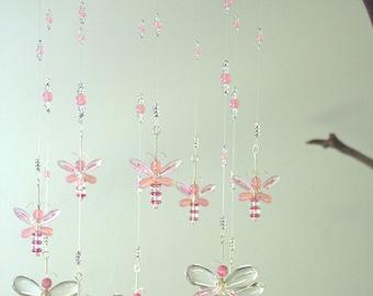 Nursery Idea Crystal Baby Mobile Swarovski Crystal Suncatcher Pink Butterfly Mobile Hanging Fairy Mobile Baby Girl Mobile Window Charm Decor