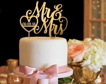 Wedding Cake Topper - Mr and Mrs Cake Topper - Gold Cake Topper