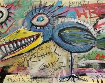 Outsider Art Painting - Art Brut - Neo-Expression - BLUE BIRD