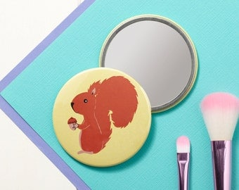 Mr Nuts Red Squirrel Pocket Mirror - Small Mirror - Hand Mirror - Handbag Mirror